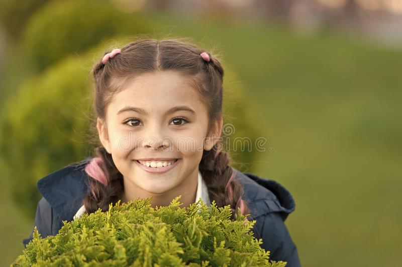 Skincare and beauty. Spring fashion for little girl. Little girl has beauty hairstyle. Happy child with thuja. Park and stock image