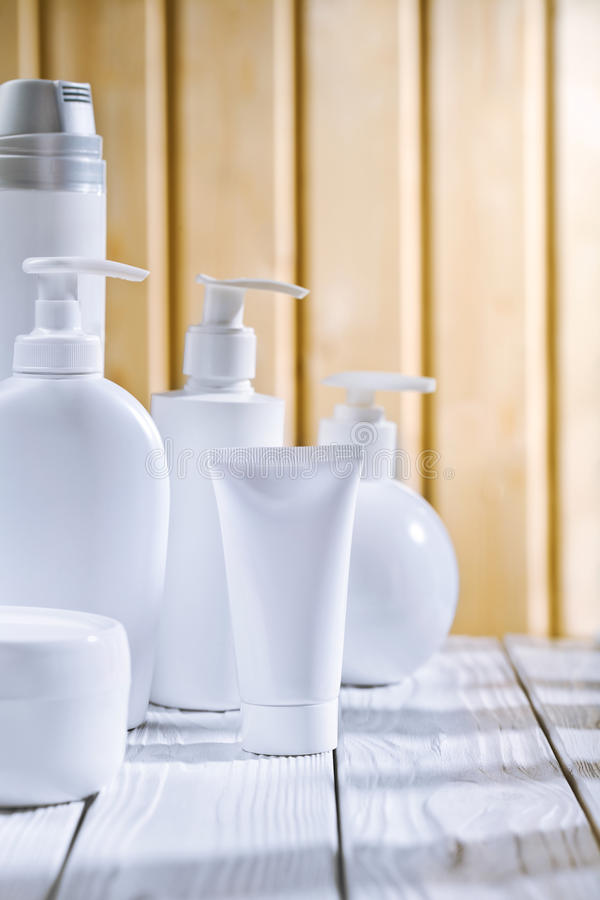 Skincare Composition On The Old White Table Stock Photos