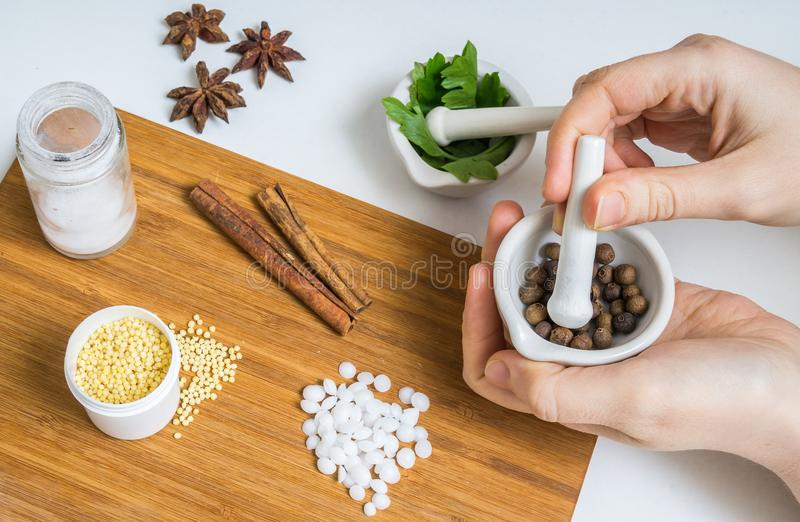 Skincare concept. Woman is preparing homemade cosmetics or makeup royalty free stock photography