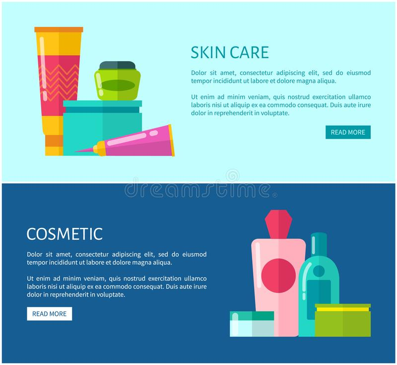 Skincare Cosmetic Promotional Internet Banners. With facial creams, aromatic shower gels and fresh tonics vector illustrations beside sample texts vector illustration