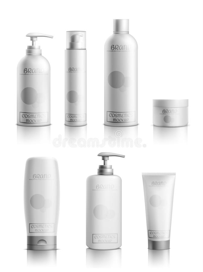 Cosmetics products packaging realistic vector set. Skincare cosmetics products line packaging mockup 3d realistic vector isolated on white background. Blank vector illustration