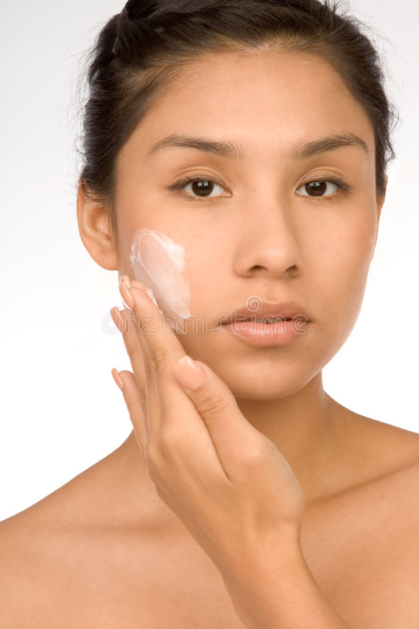 Download Skincare Girl Put Moisturizer Royalty Free Stock Photos - Image: 3024158