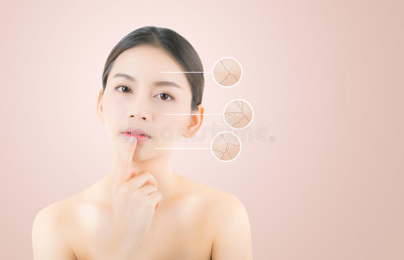 skincare and health concept - beautiful asian young woman face royalty free stock images