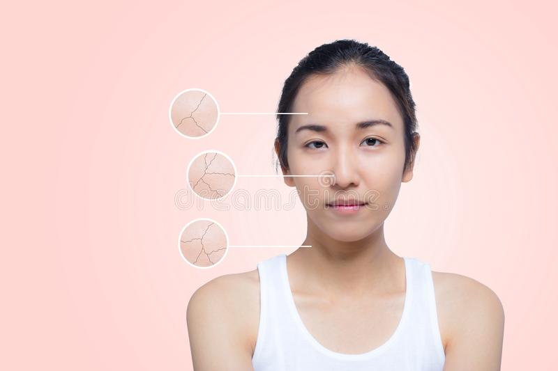 Skincare and health concept - beautiful young woman face with wrinkles royalty free stock image