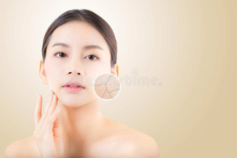 Skincare and health and cosmetics concept - beautiful asian young woman face stock image