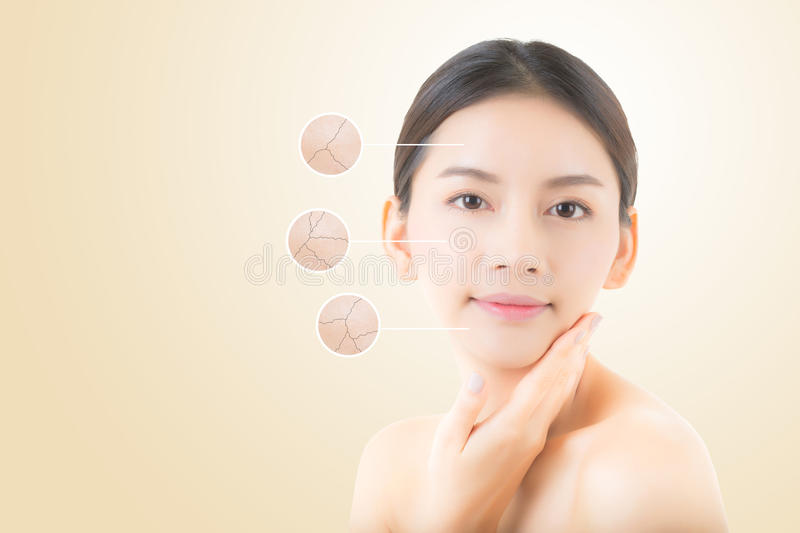 skincare and health and cosmetics concept - beautiful asian young woman face. royalty free stock photo
