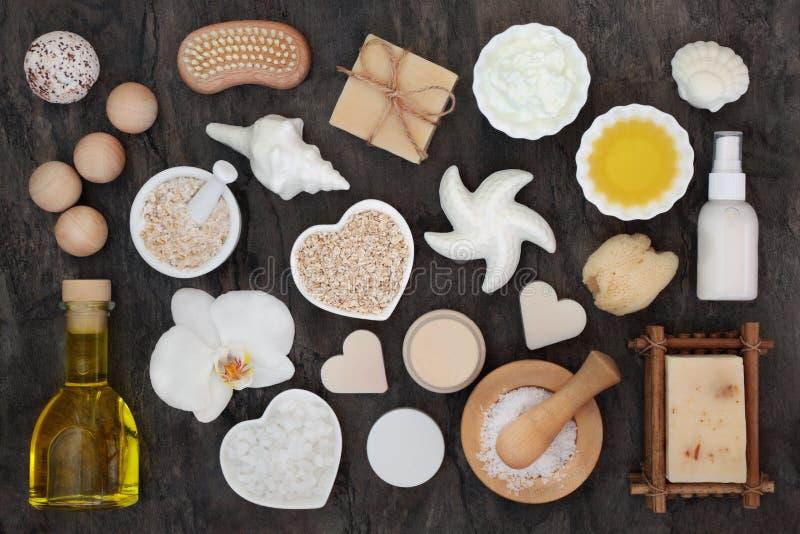 Skincare i cia?o opieki zdrowie produkty obraz royalty free