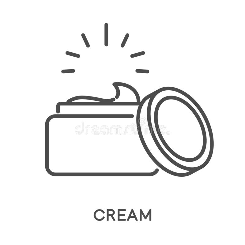 Cream isolated linear icon, skincare and beauty procedure vector illustration