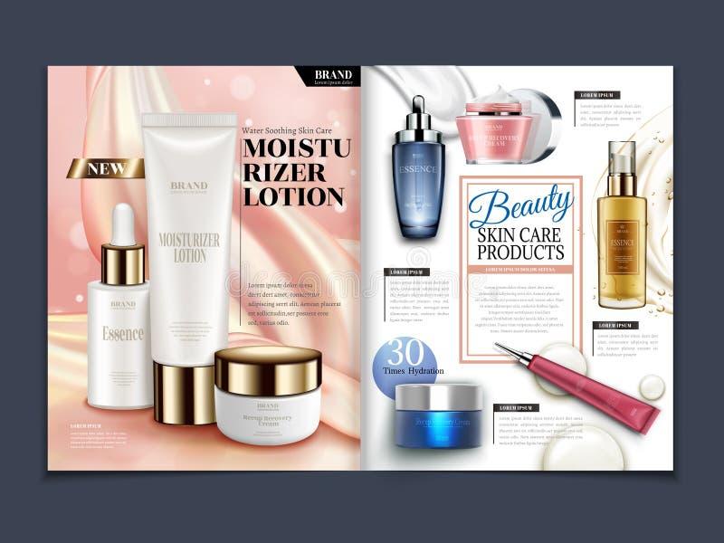 Skincare magazine template. Moisturizing set on soft satin background in 3d illustration vector illustration
