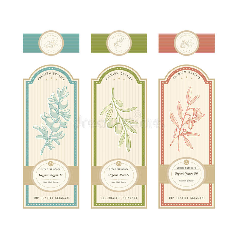 Skincare product labels. With argan, olive and jojoba oil