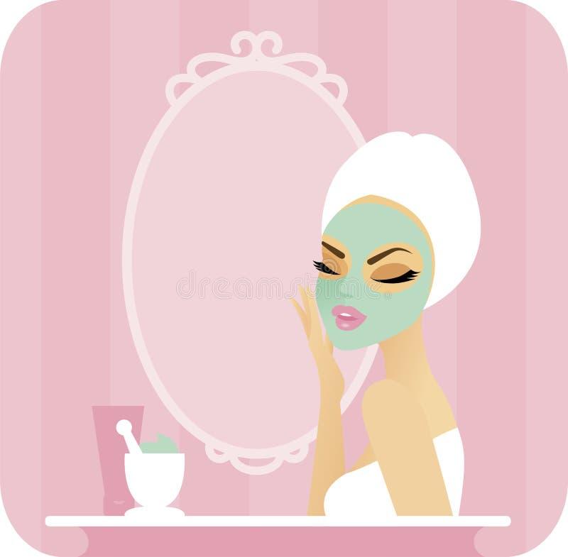 Skincare serie-Maskering vektor illustrationer