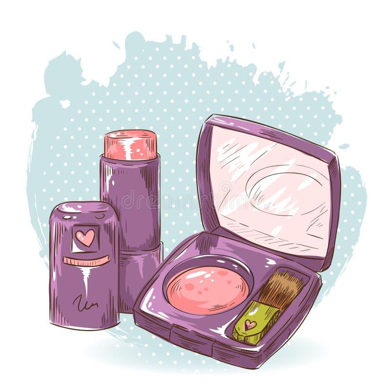 Skincare sminkblusher och läppstiftkort stock illustrationer