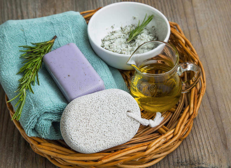 Skincare spa still life with natural soap, rosemary herb, olive royalty free stock image