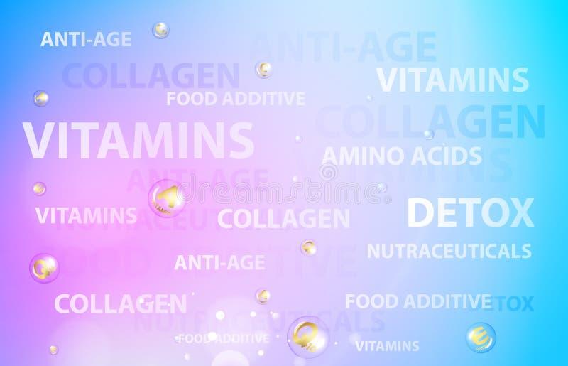Skincareconcept voor kosmetisch etiket van room Gouden bellen met vitaminebrieven over blauwe achtergrond vector illustratie