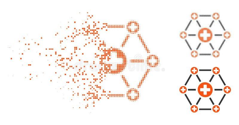 Skingrad rastrerad medicinsk nätverkssymbol för PIXEL vektor illustrationer