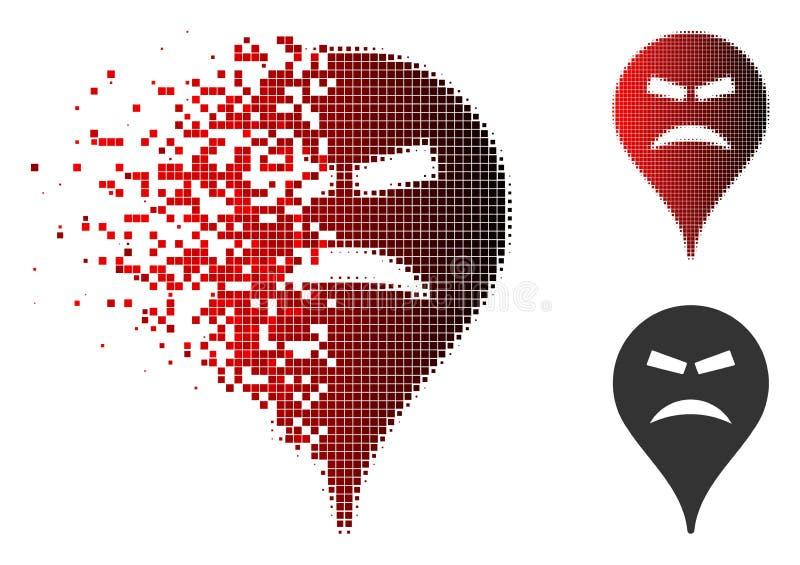 Skingrade Pixelated rastrerade rasande Smiley Map Marker Icon vektor illustrationer