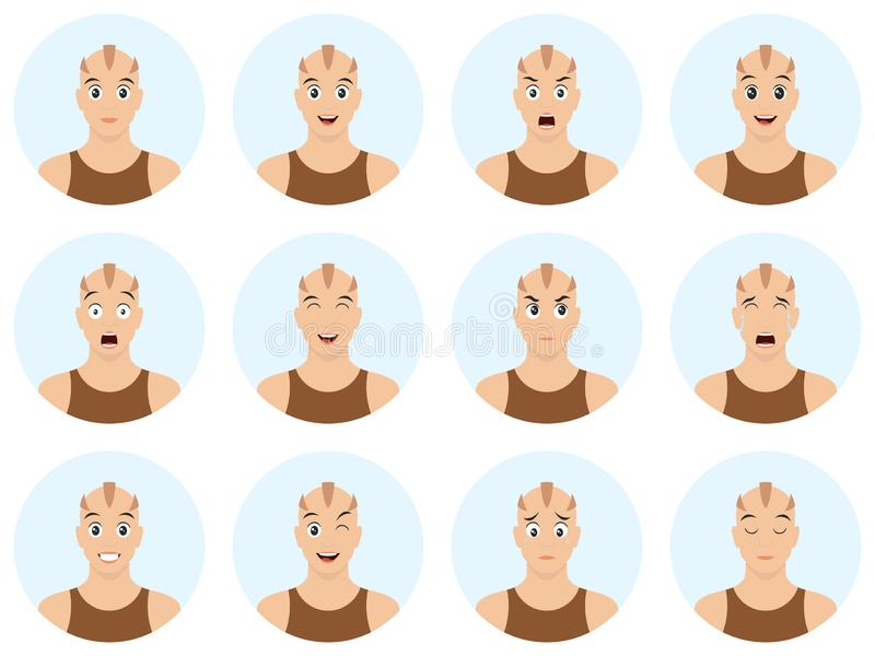 Skinhead de bande dessinée avec des émotions et l'expression du visage différentes Heureux, triste, cri, étonné, fatigué, dans l' illustration stock
