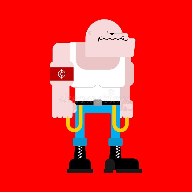 Skinhead odizolowywający Futbolowy chuligan Gniewny zły łobuz ilustracji