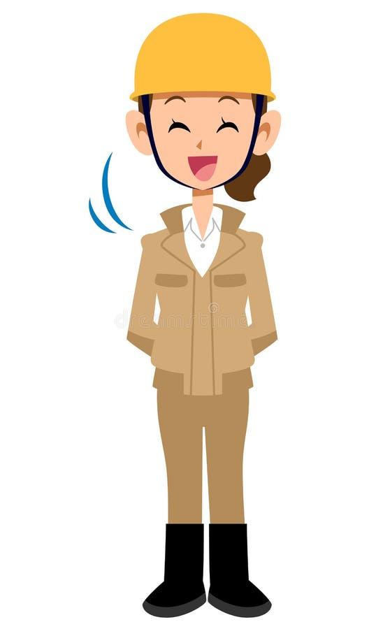 Skinienie budowy pracownika kobieta, beżowi prac ubrania ilustracji
