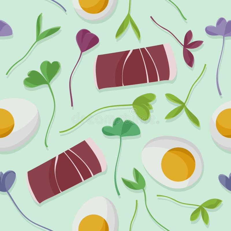 Skinka, ägg och groddar stock illustrationer