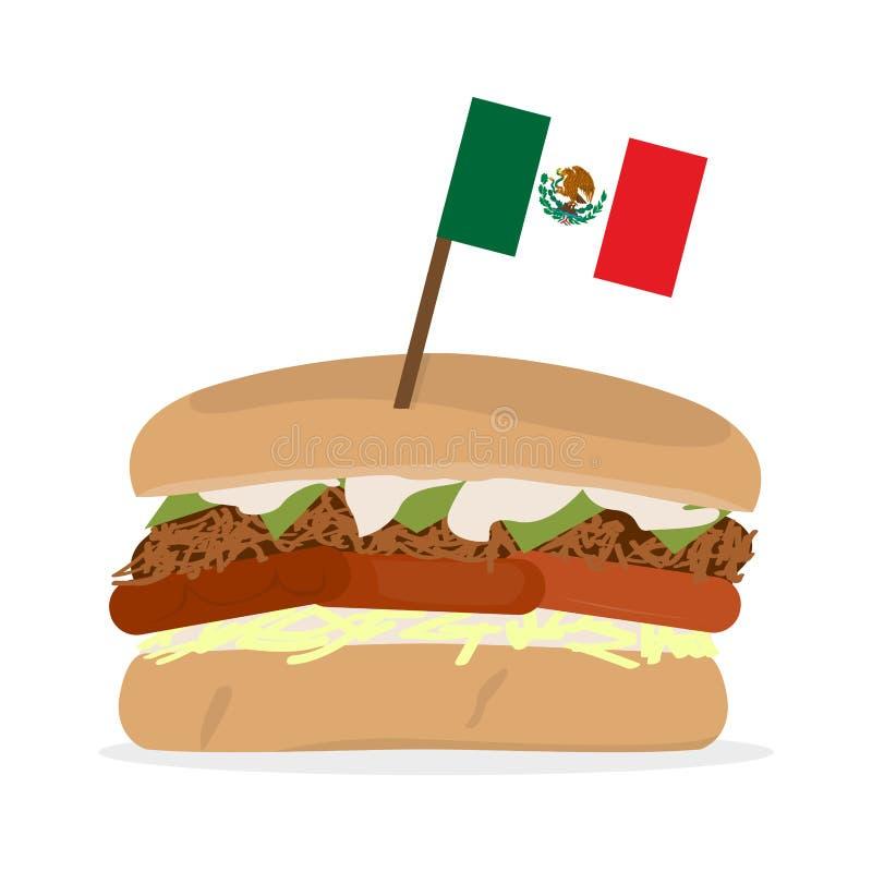 Skinka och ostsmörgås med en flagga stock illustrationer