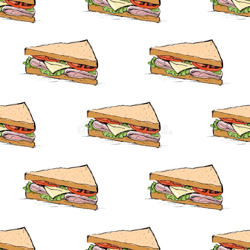Skinka, ost, tomaten och grönsallat skjuter in den sömlösa modellen royaltyfri illustrationer