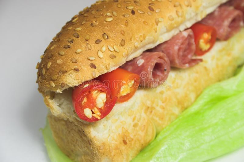 Skinkachili- och grönsallatsmörgås royaltyfria bilder