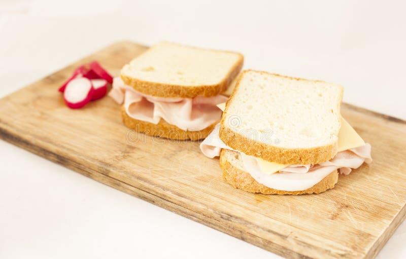 Skinkarostat bröd royaltyfri foto