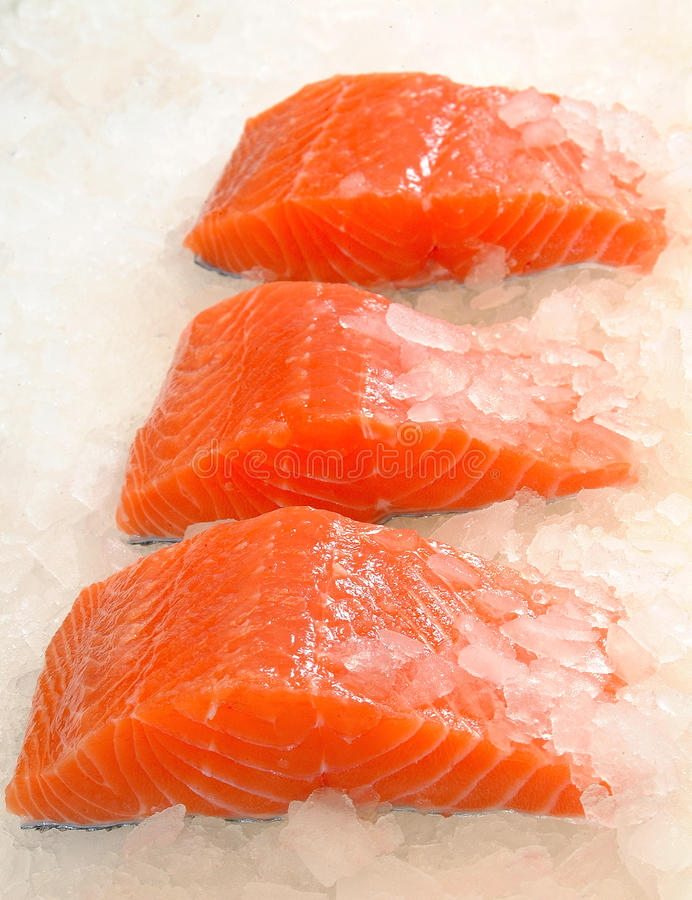 Skinless Salmon Fillet On Ice Royalty Free Stock Images