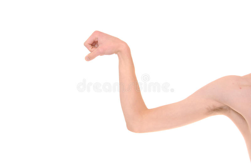 Skinny Arm Flexing Royalty Free Stock Image