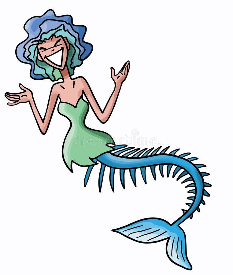 Skinny cartoon mermaid with short blue hair vector stock illustration