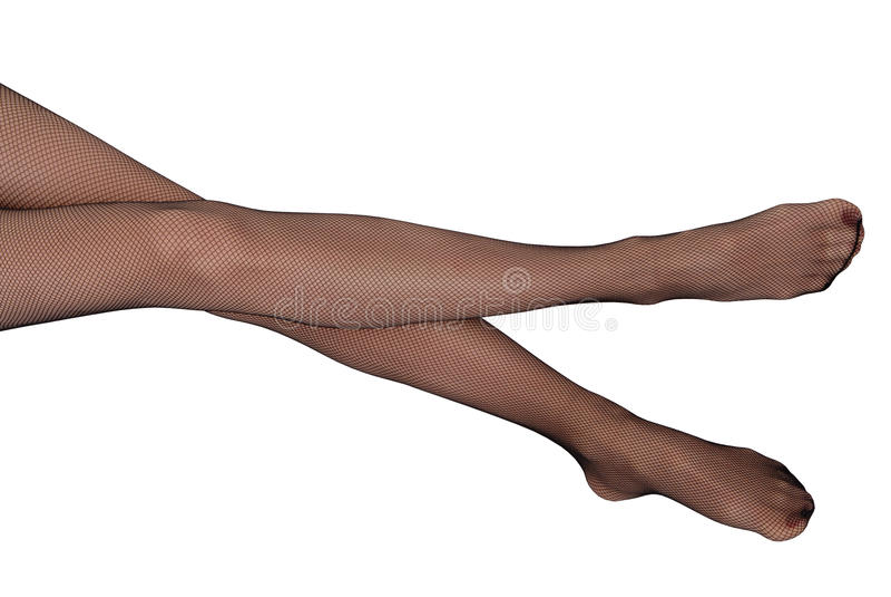 Skinny female legs in black panty-hose stock image