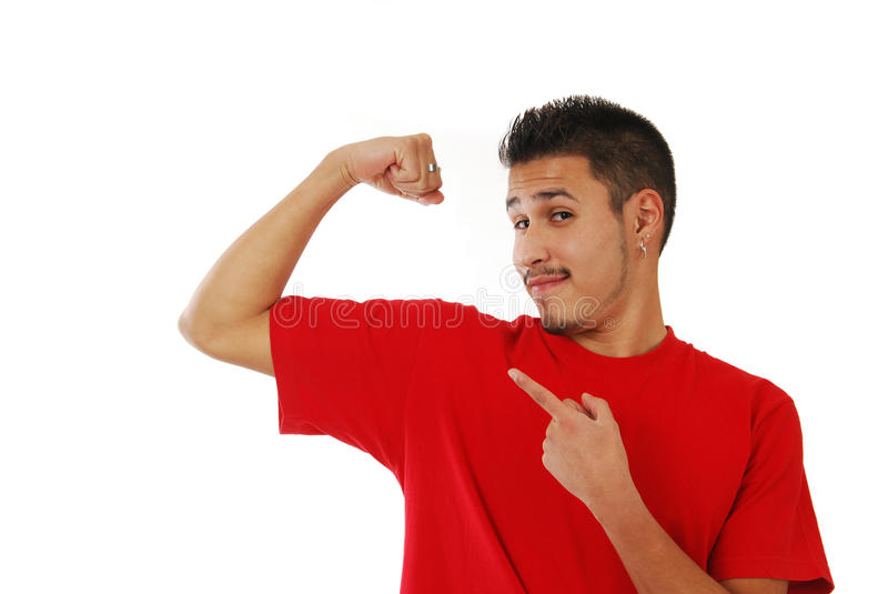 Skinny Guy Showing Off His Muscle Stock Images