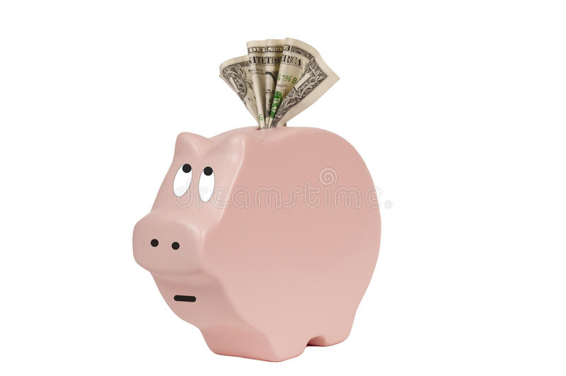 Skinny Piggy Bank. Savings in the poor little pink skinny piggy bank keeps getting skinnier and skinnier. Many people are losing their savings because of high stock images