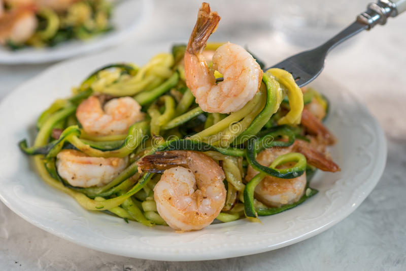 Skinny Shrimp Scampi with Zucchini Noodles. Low carb meal stock photography