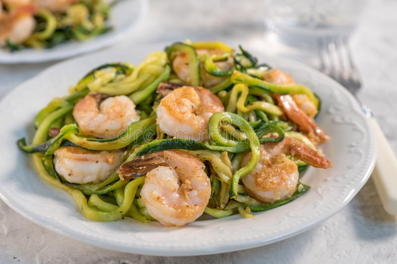 Skinny Shrimp Scampi with Zucchini Noodles. Low carb meal royalty free stock photos