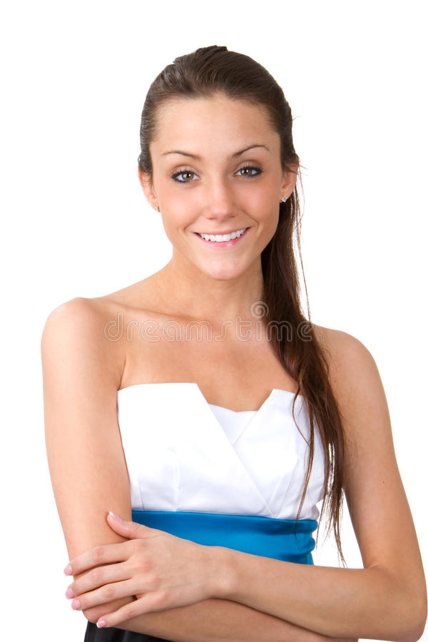 Skinny Woman. Skinny young woman with a pretty smile on her face stock photos