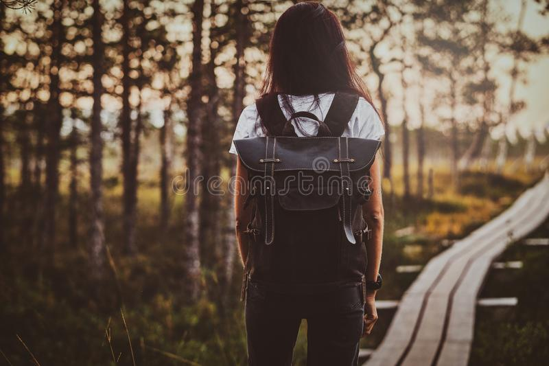 Skinny woman is hiking by the wooden path in the middle of lush pine forest. Skinny young woman is hiking by the wooden path in the middle of lush pine forest stock images