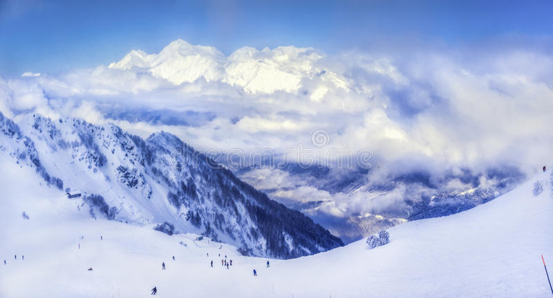 Skiort Krasnaya Polyana SOCHI stockbild