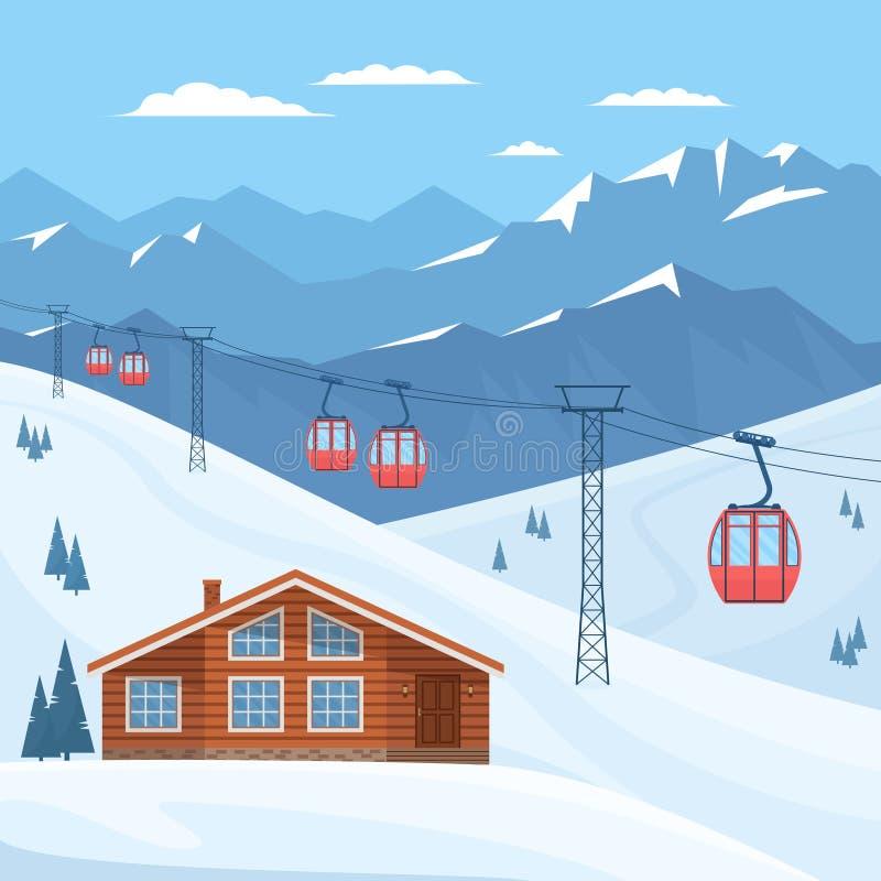Skiort mit rotem Skikabinenaufzug auf Kabelbahn, Haus, Chalet, Winterberglandschaft, schneebedeckten Spitzen und Steigungen stock abbildung