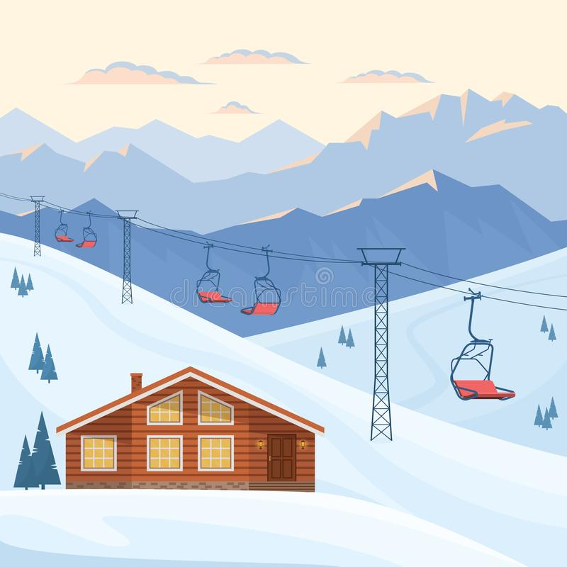 Skiort mit roter Sesselbahn, Haus, Chalet, Wintergebirgsabend und Morgenlandschaft, Schnee vektor abbildung