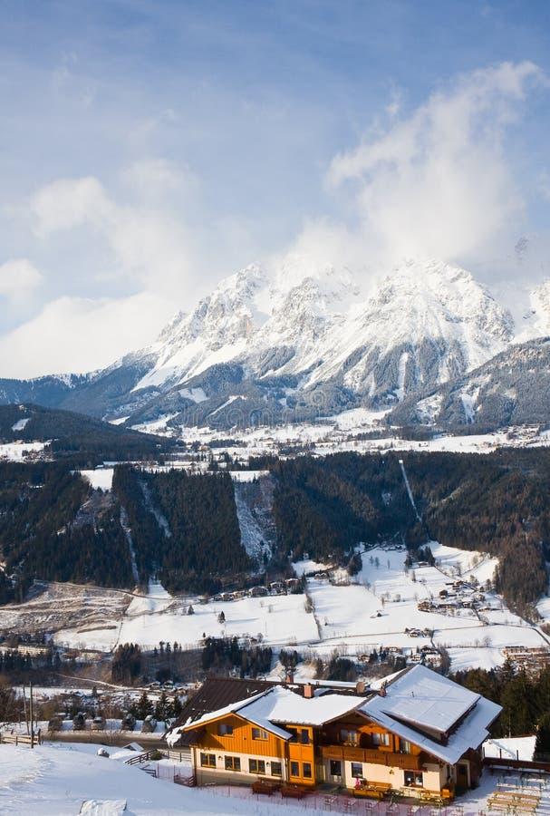 Skiort Schladming. Österreich lizenzfreies stockbild