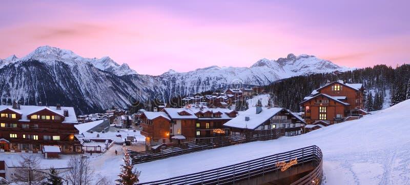 Skiort, von Courchevel in Frankreich, stockfoto