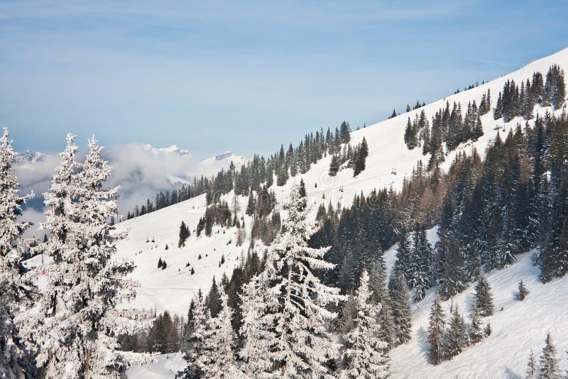 Skiort Zell morgens sehen lizenzfreie stockbilder