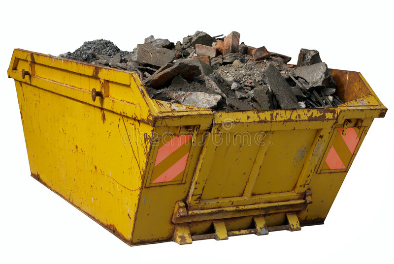 A Skip Full Of Rubble Isolated Over White. Royalty Free Stock Photos