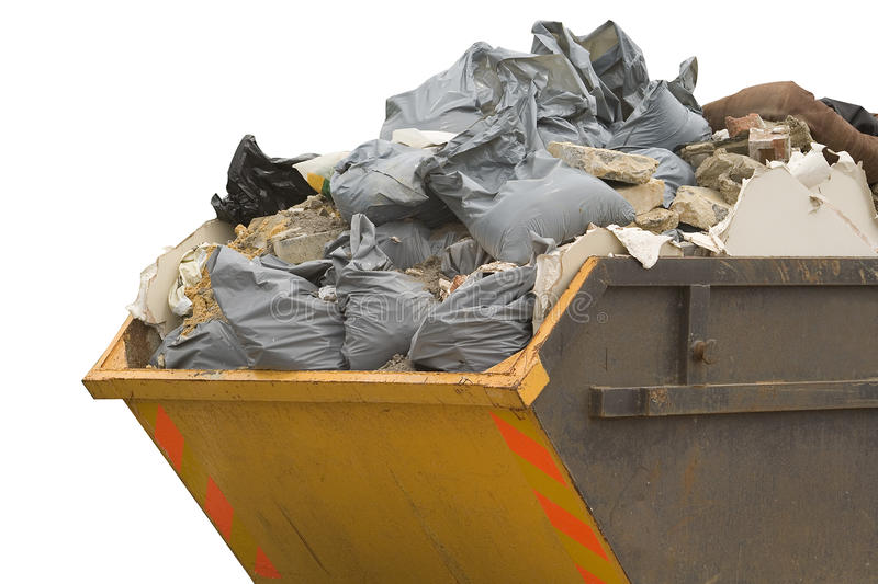 Download Skip With Refuse/trash Sacks Isolated - Sideview Stock Photo - Image: 9723234