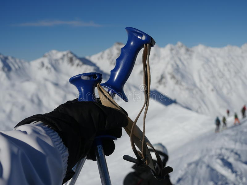 Skipole im Schnee stockbild
