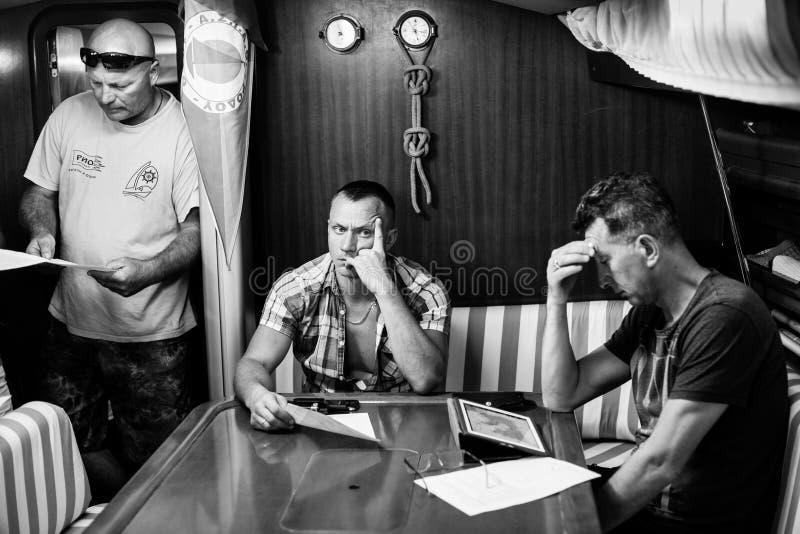 Skipper briefing during sailing regatta 16th Ellada. MILOS, GREECE - SEP 25, 2016: Skipper briefing during sailing regatta 16th Ellada Autumn 2016 among Greek stock photography