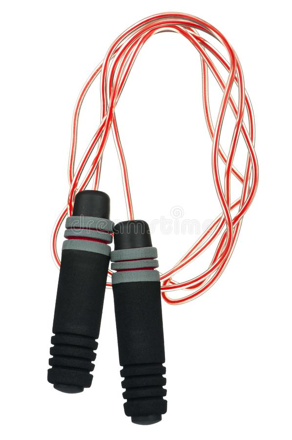 Skipping rope. New skipping rope on white background stock photos