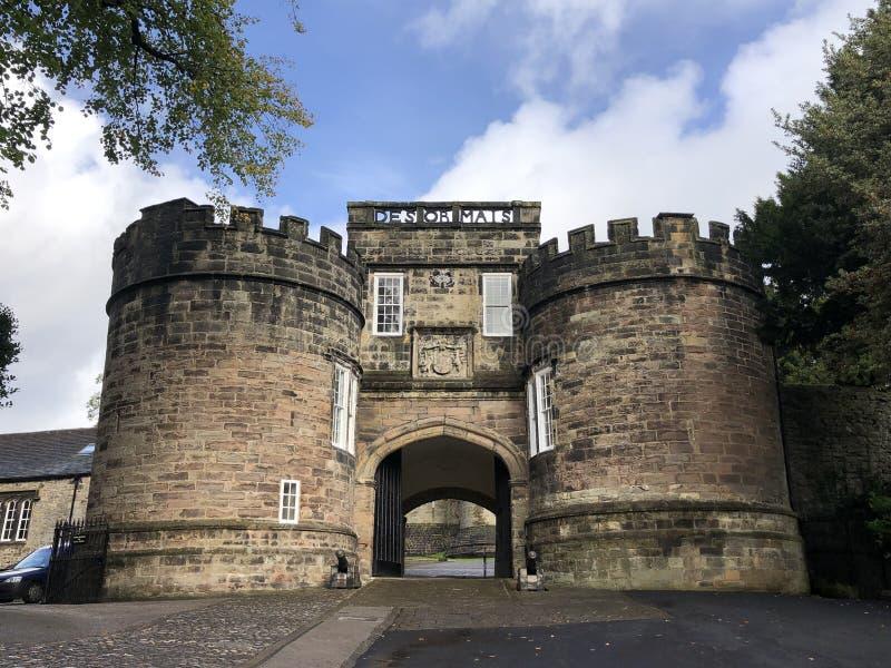 Skipton Castle - Skipton - Yorkshire - England. Skipton. United Kingdom. 10.09.19. The gatehouse to Skipton Castle in the town of Skipton-in-Craven, North royalty free stock photos